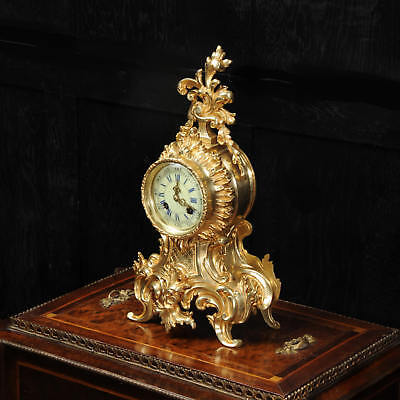 Antique French Gilt Bronze Rococo Boudoir Clock by Vincenti C1880