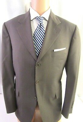 Mens Canali Tropical Weight Taupe Striped Suit Wool/Mohair Blend 42 R 52 R (eur)