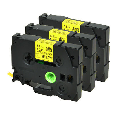 3 PK for Brother HSe611 Black on Yellow Heat Shrink Tube Tape 5.8mm PT-P750WVP
