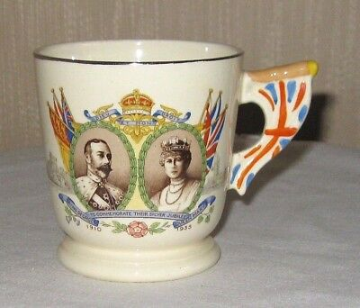 King George V and Queen Mary Silver Jubilee Mug Flag Handle