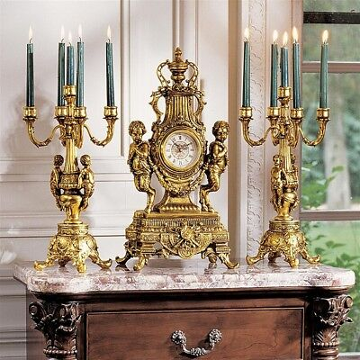 "20"" Chateau Rocco Romance Clock and Candelabra Ensemble Set"