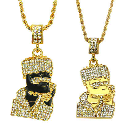 2b2164e12d6 Women Men Iced Out Bart Simpson Chain Pendant Necklace Shine Icy Bling  Grill UK