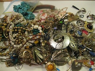 Junk Drawer Lot Of Misc Jewelry For Wear,repair,repurpose,harvest,crafts