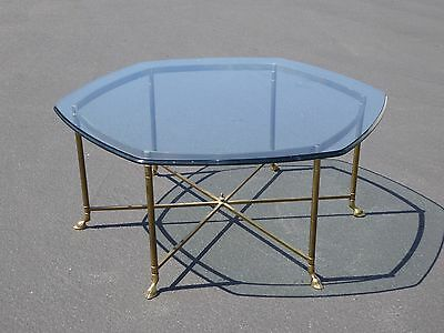 Vintage French Italian Hexagon Brass & Beveled Glass Coffee Table w Hoof Feet