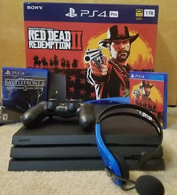 Sony PlayStation Pro 4 1TB Jet Black Console with Red Dead, and Battlefront 2