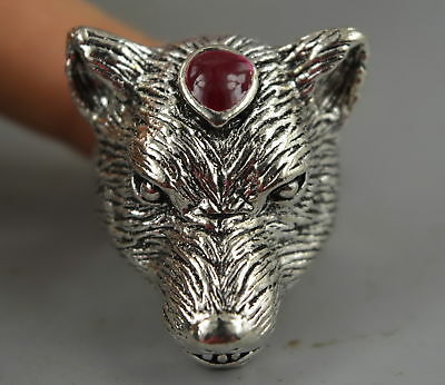 Collect Decorate Tibet Silver Carve Noble Wolf Head Rare Leader Ring Noble