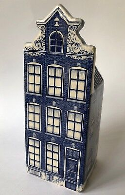 """Delft Blue Crown Mark 1705-1 Holland Blue White House Delfts Hand Painted 7 3/4"""""""