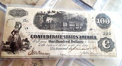 17 consecutive, $100 confederate bills received to stop 2 slaves from being hung