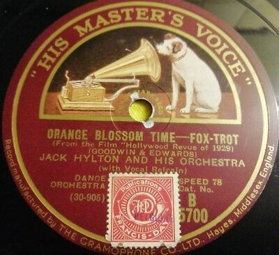 Jack Hylton Orange Blossom Time Singin In The Rain Schellackplatte Sehr Selten