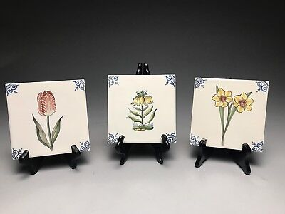Three Vintage Makkum Holland Decorative Flower Tiles Signed