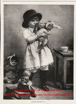 Veterinary Doctor Girl Cares for Puppy & Dolls Toothache, 1890s Antique Print