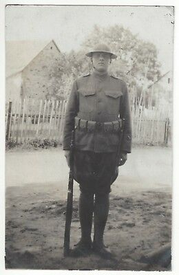 1917 WWI Armed U.S. Military Soldier in France - REAL PHOTO Vintage Postcard