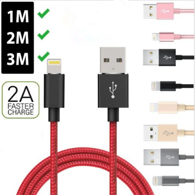 IPhone Heavy Duty Metal Braided Lightning USB Charger Cable 1M 2M 3M For X 7 6 5