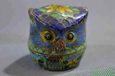 Collectable Chinese Cloisonne Carve Owl Queen Use Old Ancient Fashion Jewel Box
