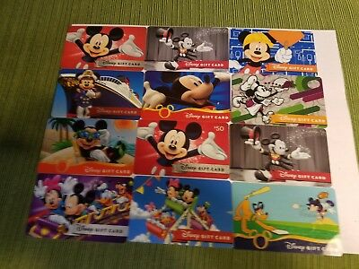 """Disney Collectible  Gift Cards """"NO VALUE"""" Lot of 12 Mickey Mouse"""