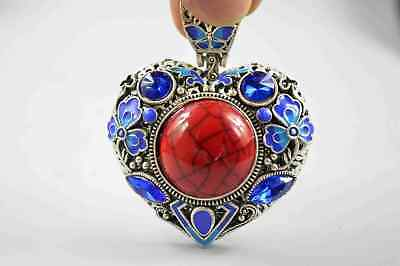 Exquisite Old Collectable Miao Silver Carve Flower Rattan Inlay Agate Pendant