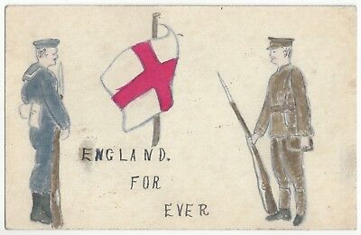 1906 Completely Hand Drawn Postcard - English Military Soldier & Sailor, Flag