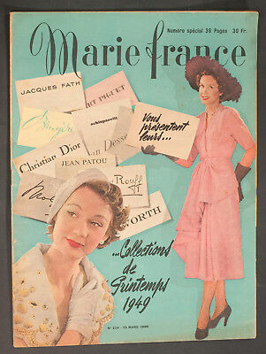 'marie-France' French Vintage Magazine Spring Collections Issue 15 March 1949