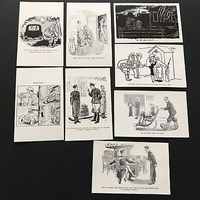 """Lot Of 8 """"soldiers & Girls"""" Wwii Military Comic Illustrated Postcards"""