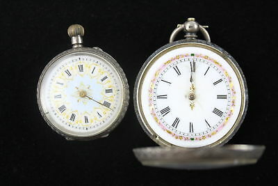2 Vintage Ladies .935 SILVER Fob Watches Key / Hand-Wind (83g)