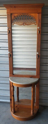 Mid-Century Vintage Carved Wood Hall Tree Stand W/ Mirror & Marble Console Table