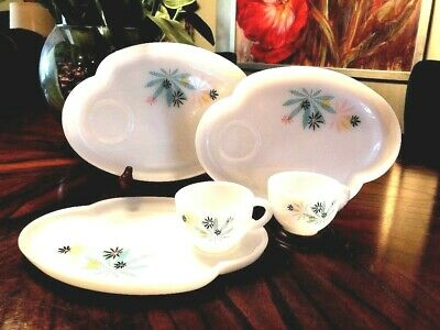 1950s Atomic Flower Snack Set Federal Glass White Milk Glass 2 sets with/ Plate