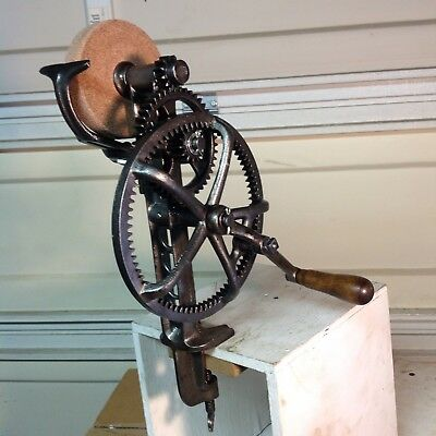 Antique Vintage Old Tool Hand Crank Bench Sickle Grinder Sharpener Farm Tool.