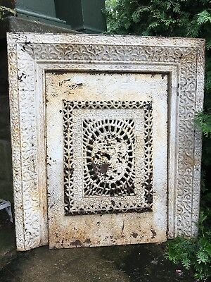 Large Heavy Victorian Cast Iron Fireplace Grate Antique Architecture Garden #7