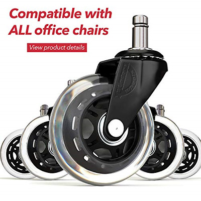 Office chair wheels replacement rubber chair casters for hardwood floors and set