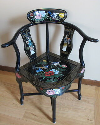 Vintage Chinese Black Lacquer Corner Chair w/Floral Paintings Hardstone Geishas