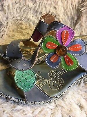 f4beabd4871635 L Artiste Colorful Riviera Floral Gray Wedge Heel Sandal Women EU SZ 39 US  8.5