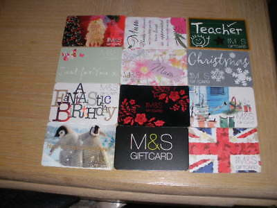 U K   M & S   12 different new collectible gift cards