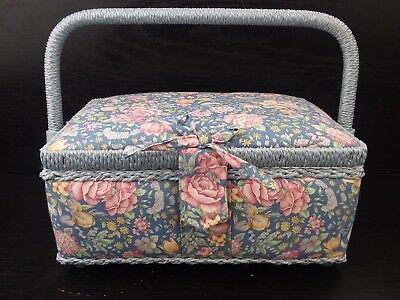 Vintage Blue Floral Fabric Shabby Chic Sewing Basket with Handle