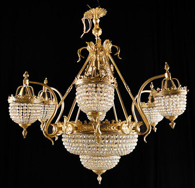 Antique French empire style bronze Glass chandelier Nine interior lights (1182)