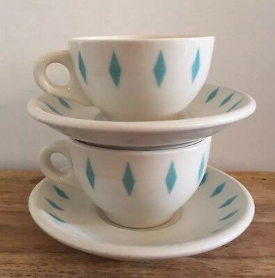 VTG Vandesca China Turquoise Diamond Coffee Cups Saucers Restaurant Ware Diner