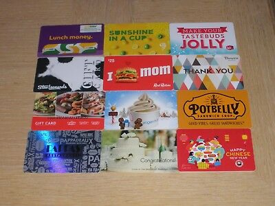 Restaurants and Food   12 different new collectible gift cards