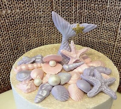Sea Shells Fish Tail Mermaid Tail  party Cake/Cupcake Toppers  Starfish Pearls