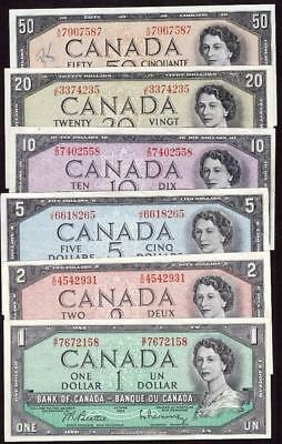 1954 Bank of Canada banknote set $1 $2 $5 $10 $20 and $50 6-notes VF30 to AU+