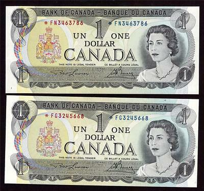 2x 1973 Canada $1 dollar replacement banknotes BC-46aA *FG  & *FN  UNC63 EPQ