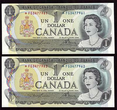 2x 1973 Canada $1 dollar replacement notes BC-46aA *FG3477961-62 UNC63 EPQ