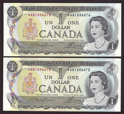 2x 1973 Canada $1 dollar replacement notes BC-46aA *AN1696675-76 UNC63 EPQ