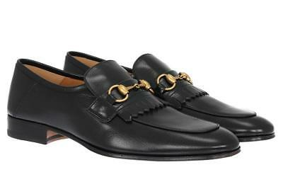 898fbd1d7 New Gucci Quentin Black Leather Horsebit Loafers Dress Shoes 7/Us 7.5  M#494652