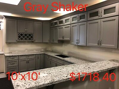 ALL SOLID WOOD KITCHEN CABINETS Gray Shaker RTA Sample Door ...