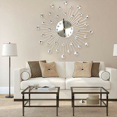 33cm Living Room Diamante Beaded Crystal Jeweled Sunburst Wall Clock Home Decor