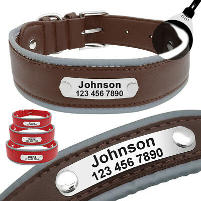 Reflective Leather Dog Collar Medium Large Dogs Training Collar Free Engraved