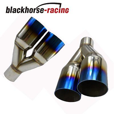 "2Pcs 2.5""In3.5""Out  Exhaust Straight cut Tip Blue Burnt Polished Stainless Steel"