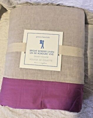 pottery barn kids Bright Border Linen twin Duvet Lilac natural neutral