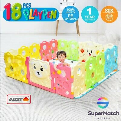 ABST 18 Sided Baby Playpen Colorful Panel w/Game Panel Run Bear Toddler Play Toy