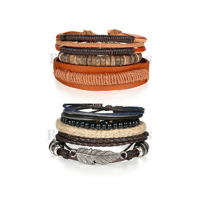 7pcs Leather Bracelet For Women Men Tribal Feather Wood Beaded Braided Wristband