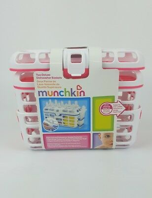 New Munchkin Deluxe Pink Dishwasher Baskets 2 Pk Nipples Utensil Bin Drying Rack